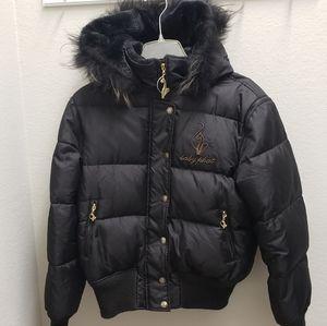 Baby Phat Black Puffer Hooded Goosedown Jacket Lg